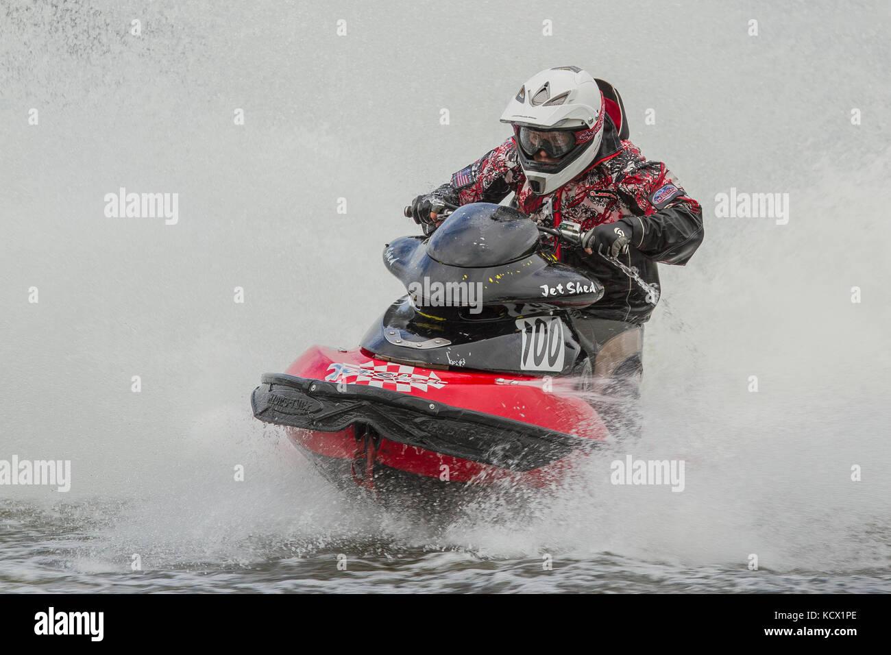 Jet Ski Racing in the JSRA British championship at Avos, Preston, UK - Stock Image