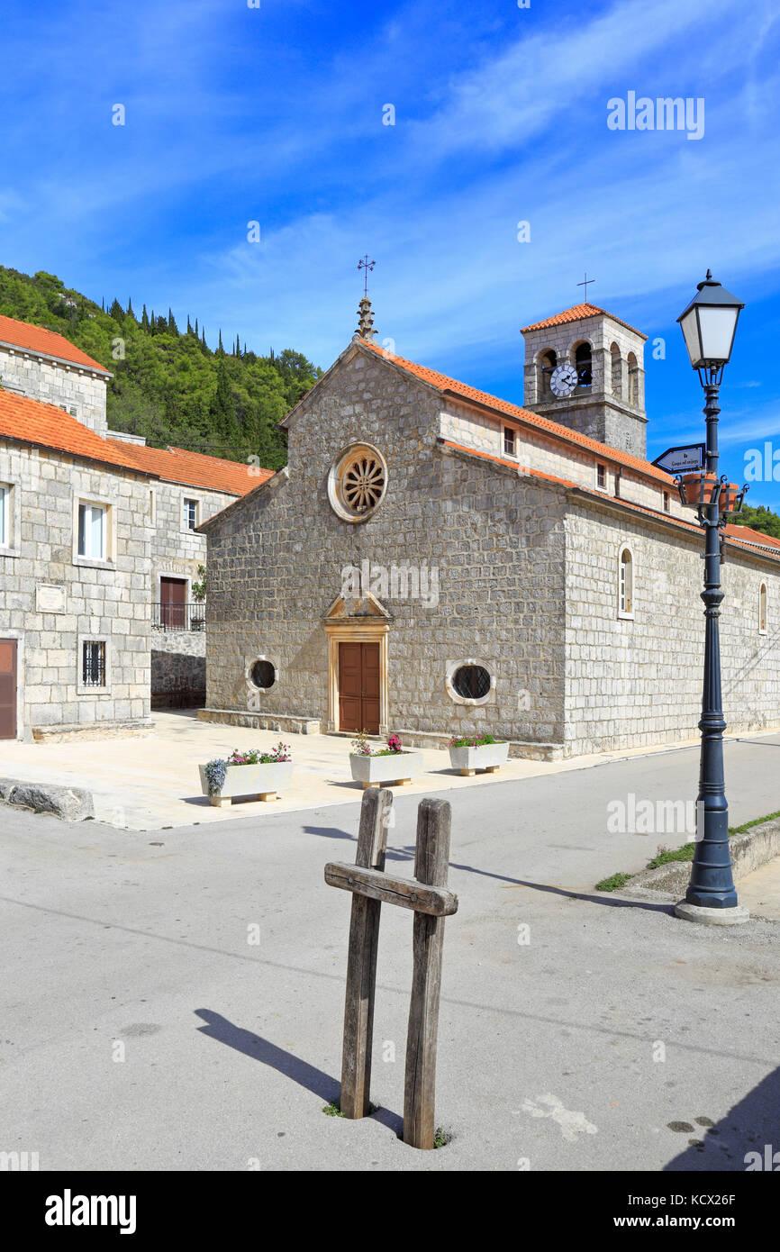 The Church of Our Lady of Snows, Pupnat, Korcula Island, Croatia, Dalmatia, Dalmatian Coast, Europe. - Stock Image