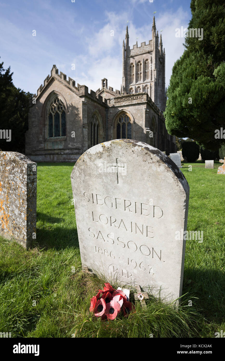 Grave of famous First World War poet Siegfried Sassoon in churchyard of St Andrew's church, Mells, near Frome, - Stock Image