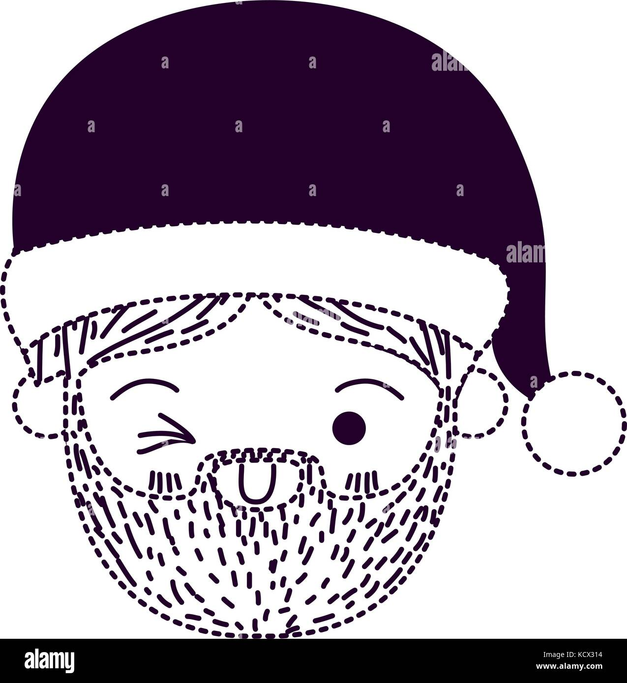 santa claus man kawaii face wink eye expression with hat on dotted rh alamy com Moving Winking Eyes Clip Art Winking Eye Drawing