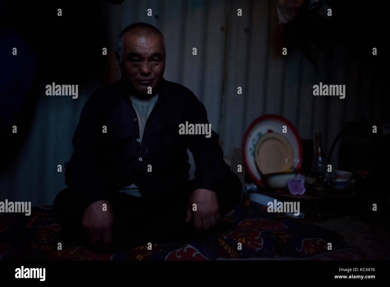 A few fishermen come to settle in Tastubek for the winter season, leaving women and children in Aral or Baikonur. - Stock Image