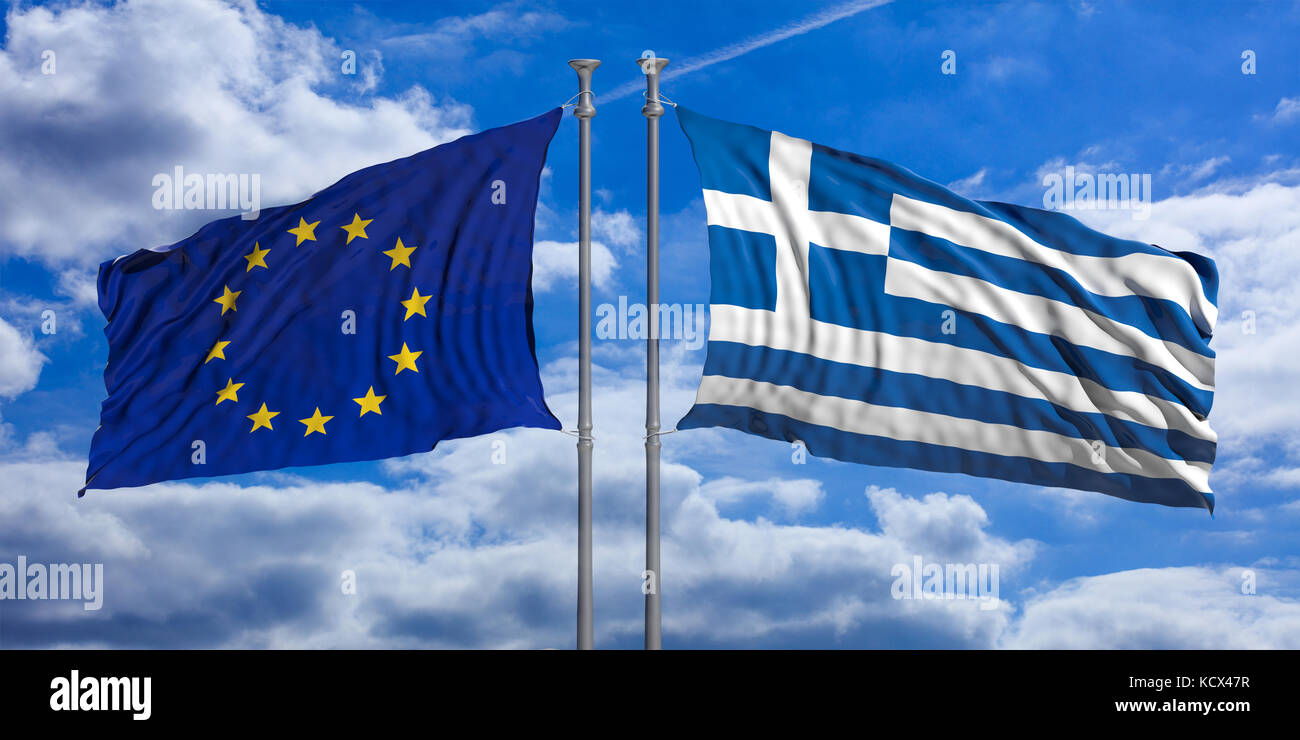 Grexit concept. Greece and European Union flags waving on blue sky background. 3d illustration - Stock Image