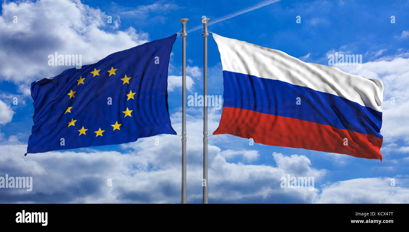 Russia and European Union flags waving on blue sky background. 3d illustration - Stock Image