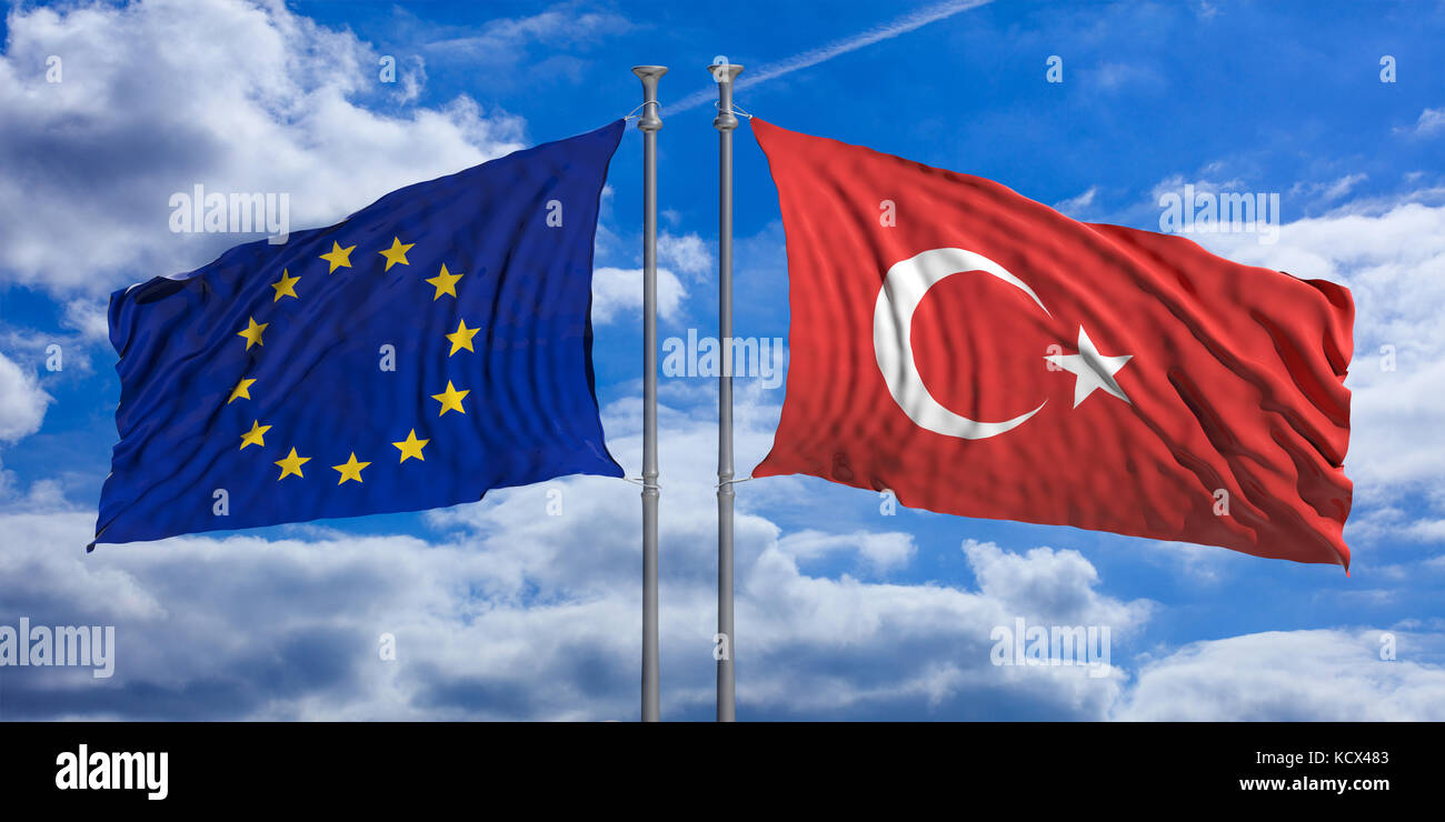 Turkey and European Union flags waving on blue sky background. 3d illustration - Stock Image