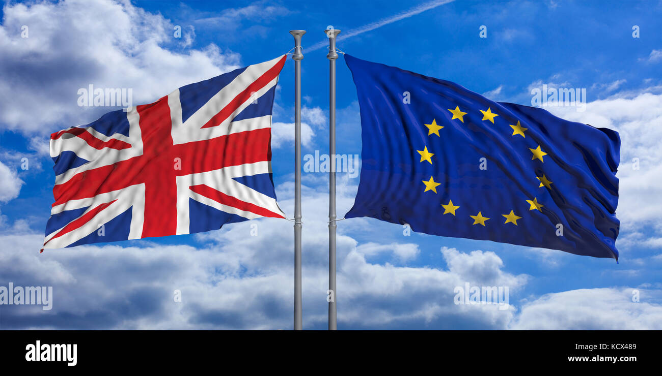 United Kingdom and European Union flags waving on blue sky background. 3d illustration - Stock Image