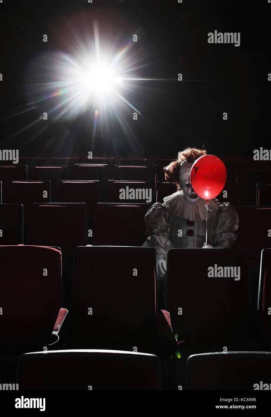 Pennywise the Clown is unleashed at the Peckhamplex Cinema in a chilling immersive screening of the new motion picture - Stock Image