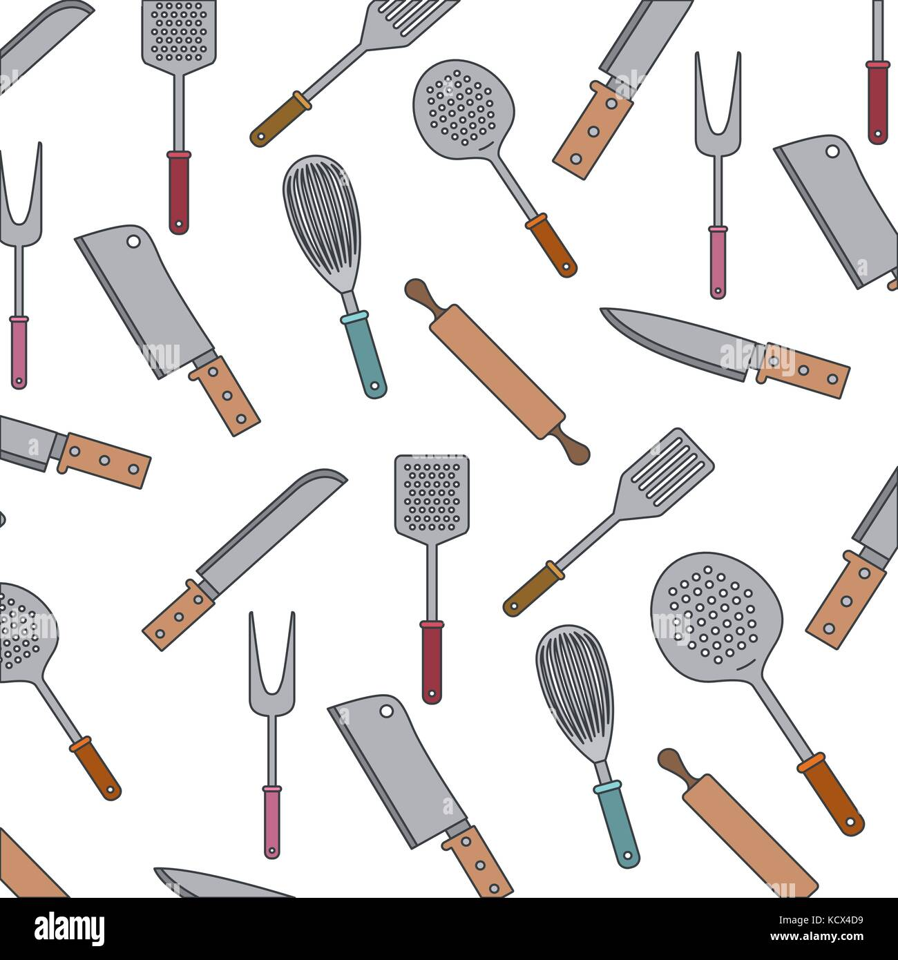 kitchen utensils colorful pattern background - Stock Vector