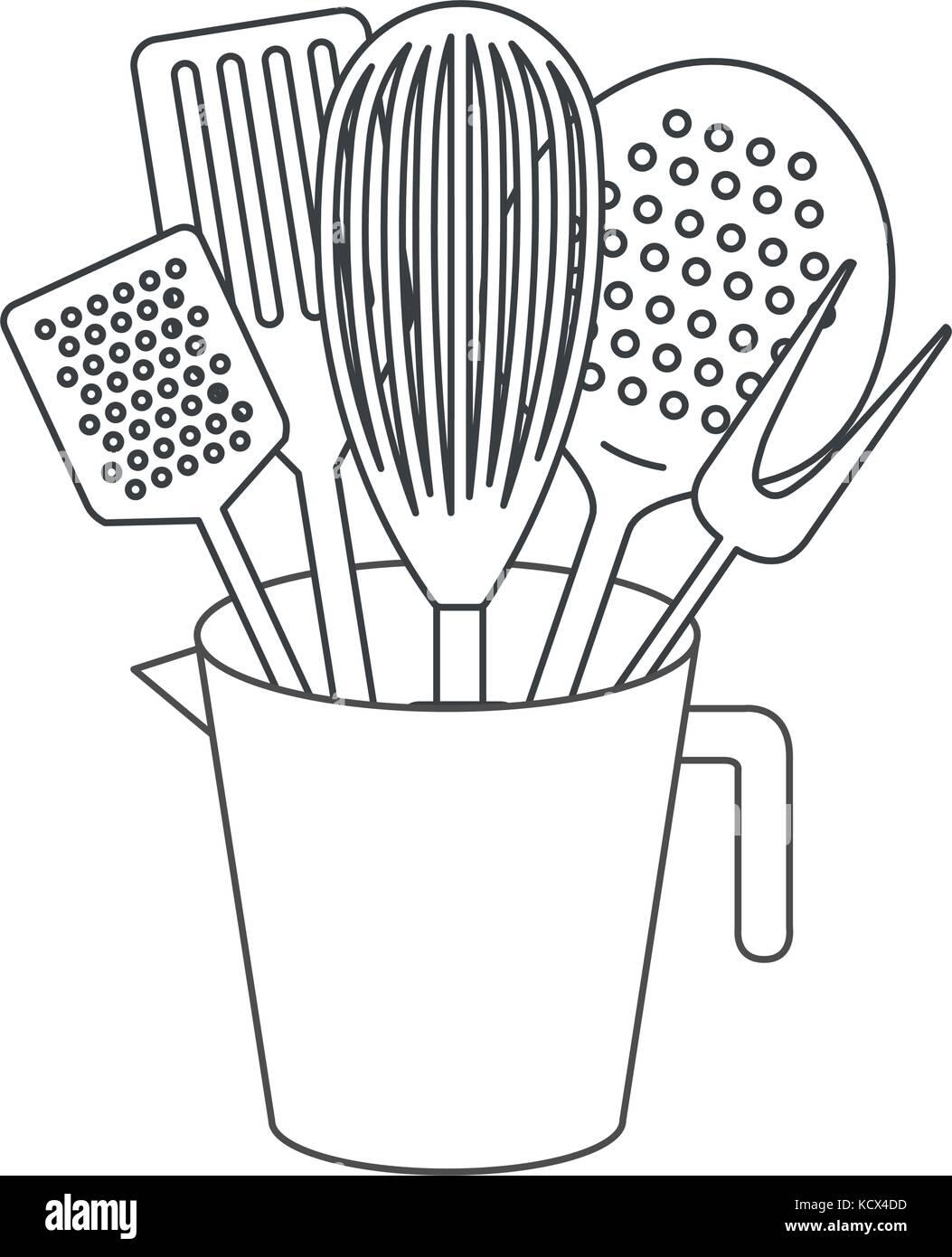 jar with kitchen utensils monochrome silhouette - Stock Vector