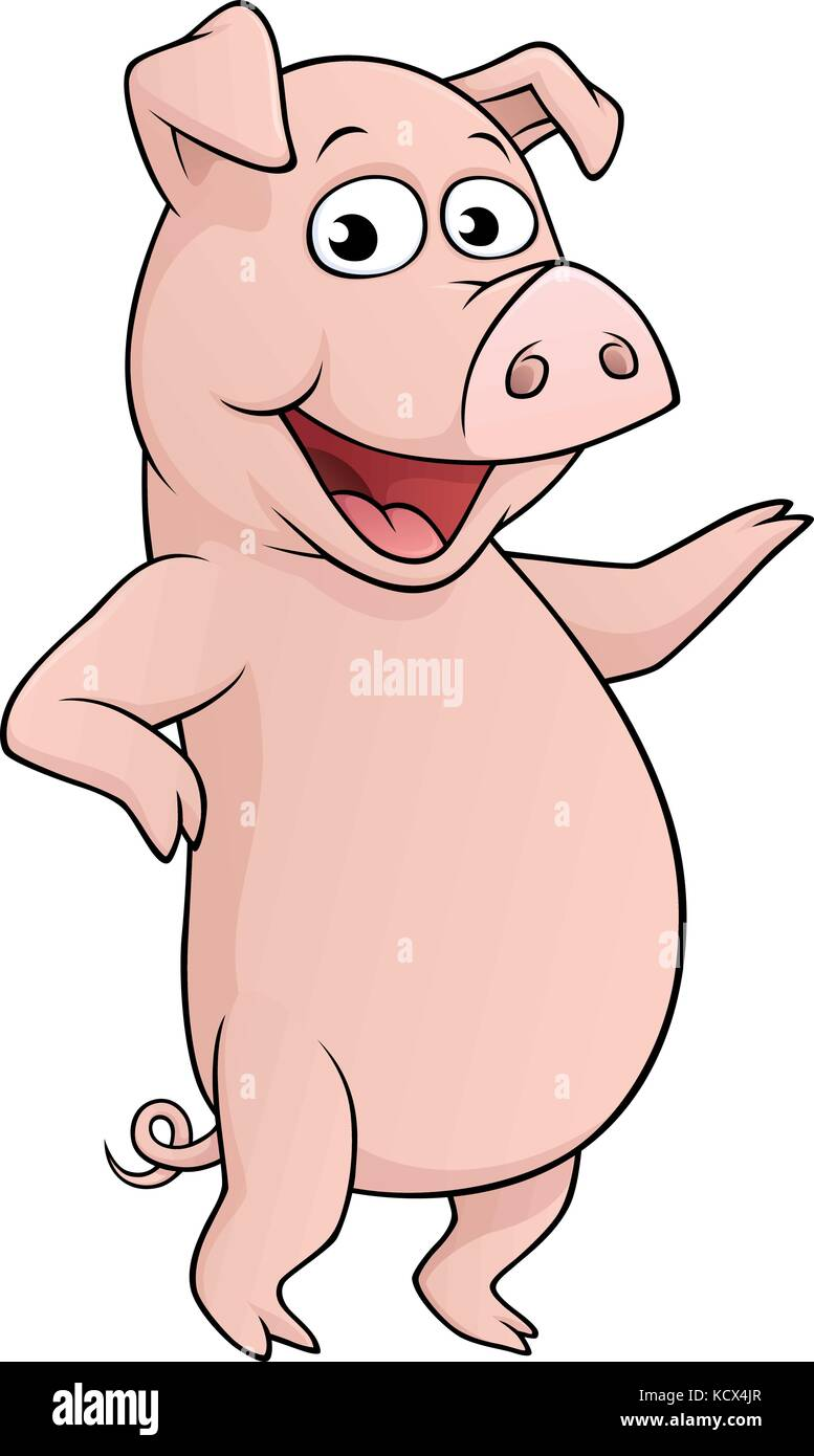 Vector Cartoon Of A Pig Standing On Its Hind Legs Stock Vector Image Art Alamy