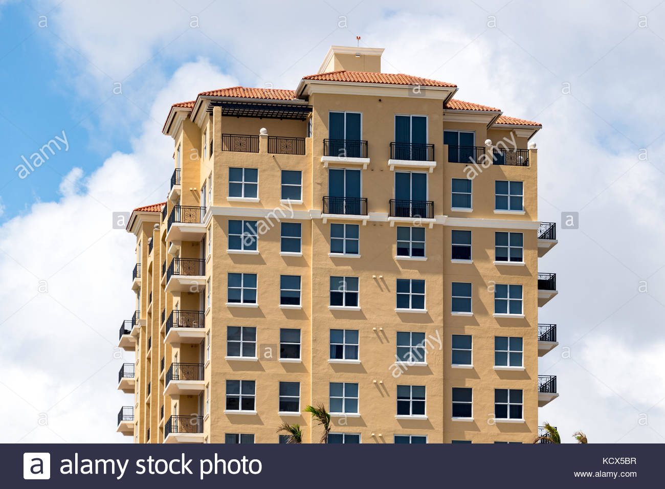 Mediterranean revival architecture in buildings of Coral Gables, southwest of the downtown district. Stock Photo