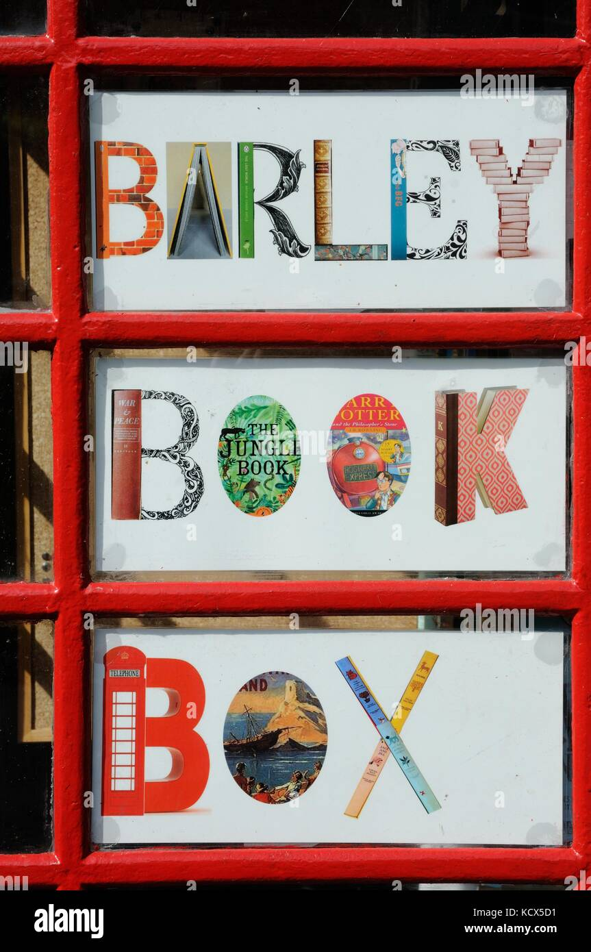 Barley book box - old telephone kiosk, Barley, Hertfordshire - Stock Image
