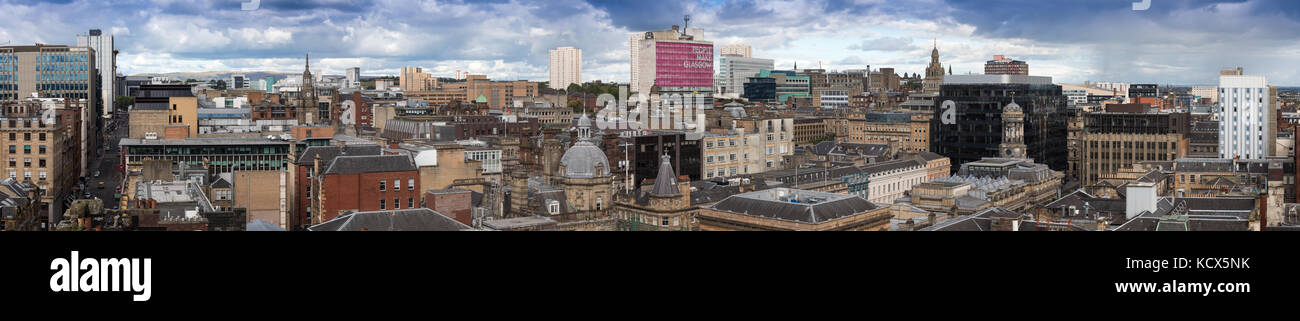 Panoramic view of Glasgow City Centre taken from the Lighthouse - Stock Image