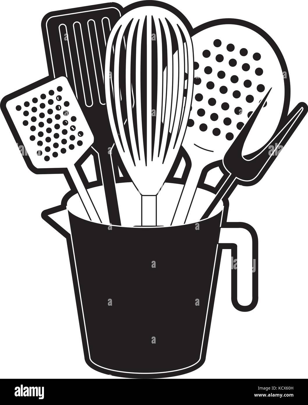 jar with kitchen utensils black silhouette - Stock Vector
