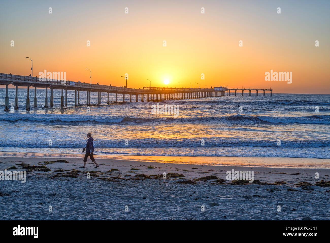 Coastal sunset. View of the Ocean Beach Pier, San Diego, California, USA. - Stock Image