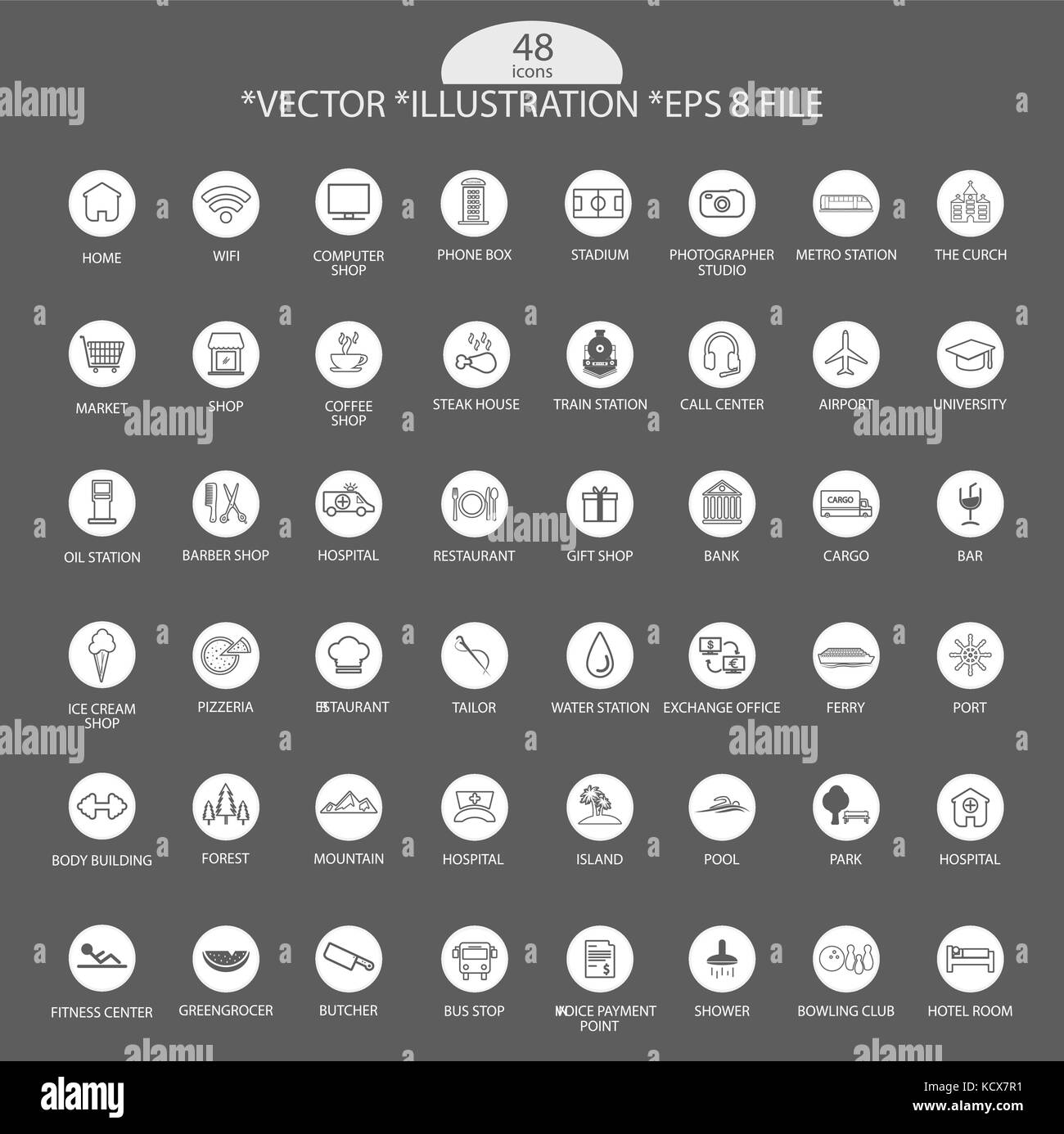 Artistic Grey Icon Set, Vector, Illustration, Eps File - Stock Image
