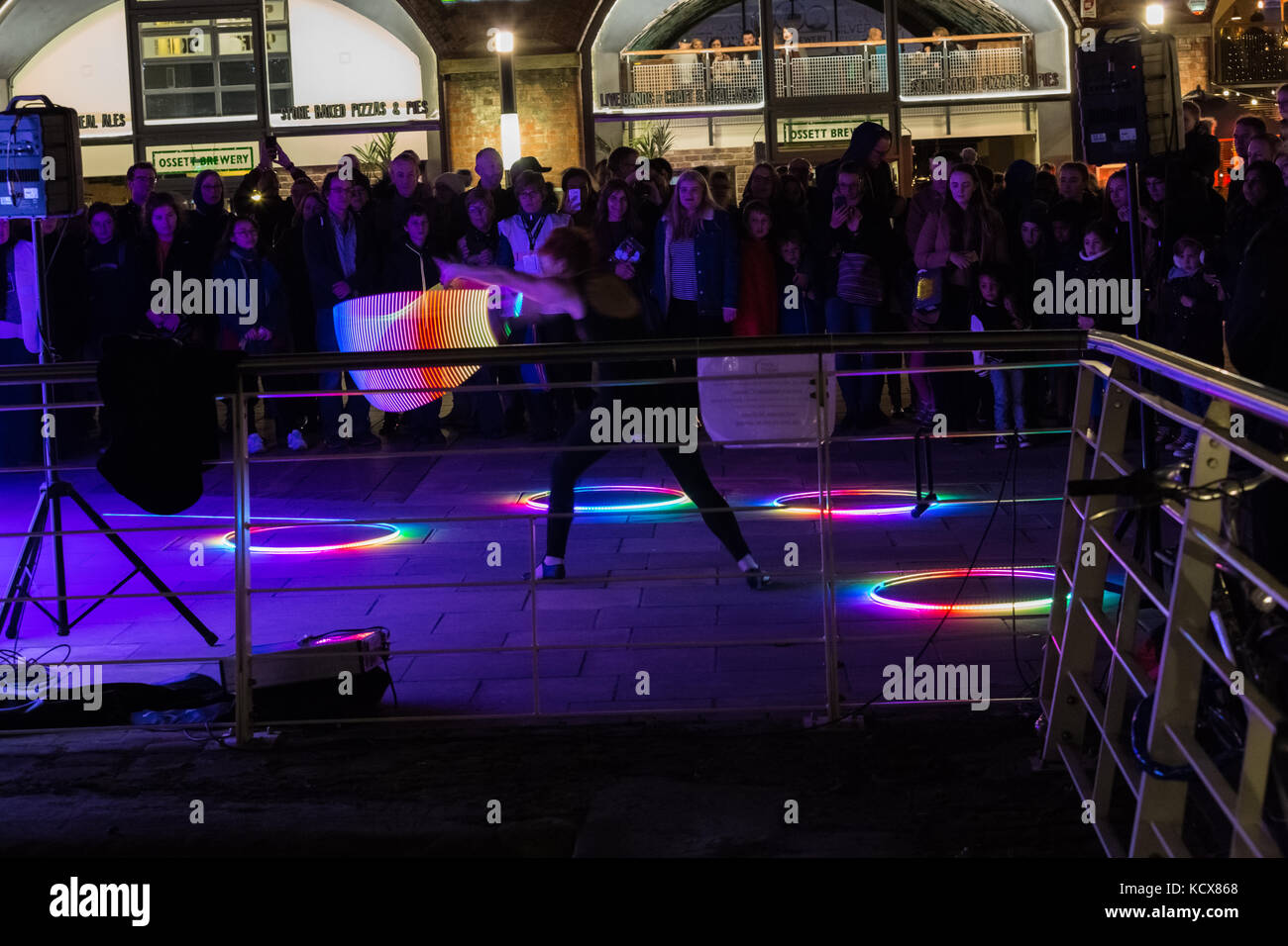 6th Oct 2017, Leeds Night Light, a magical celebration of light and colour, this the 13th year of Light Night Leeds. Stock Photo