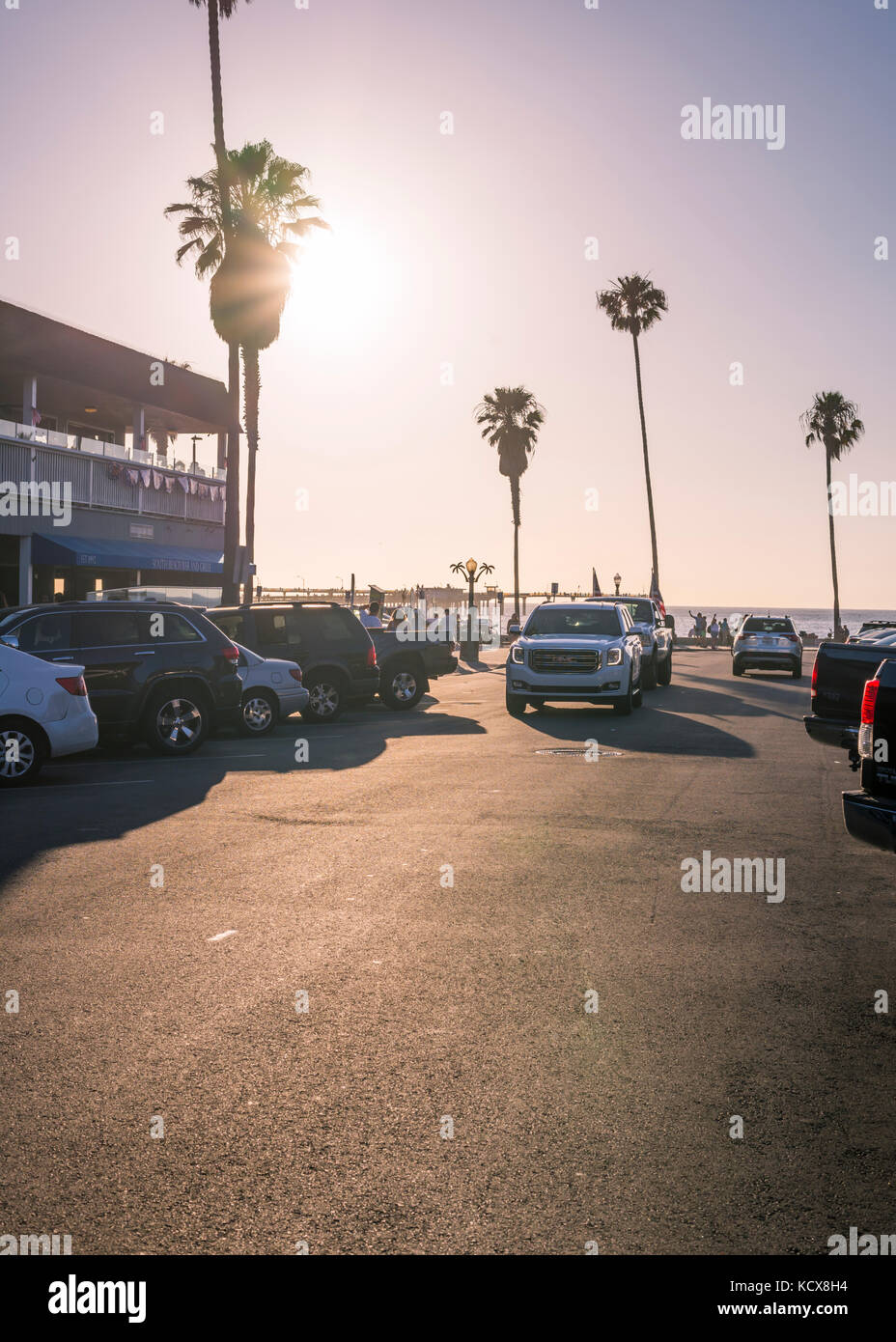 Looking down Newport Avenue in Ocean Beach on a summer evening. San Diego, California. - Stock Image