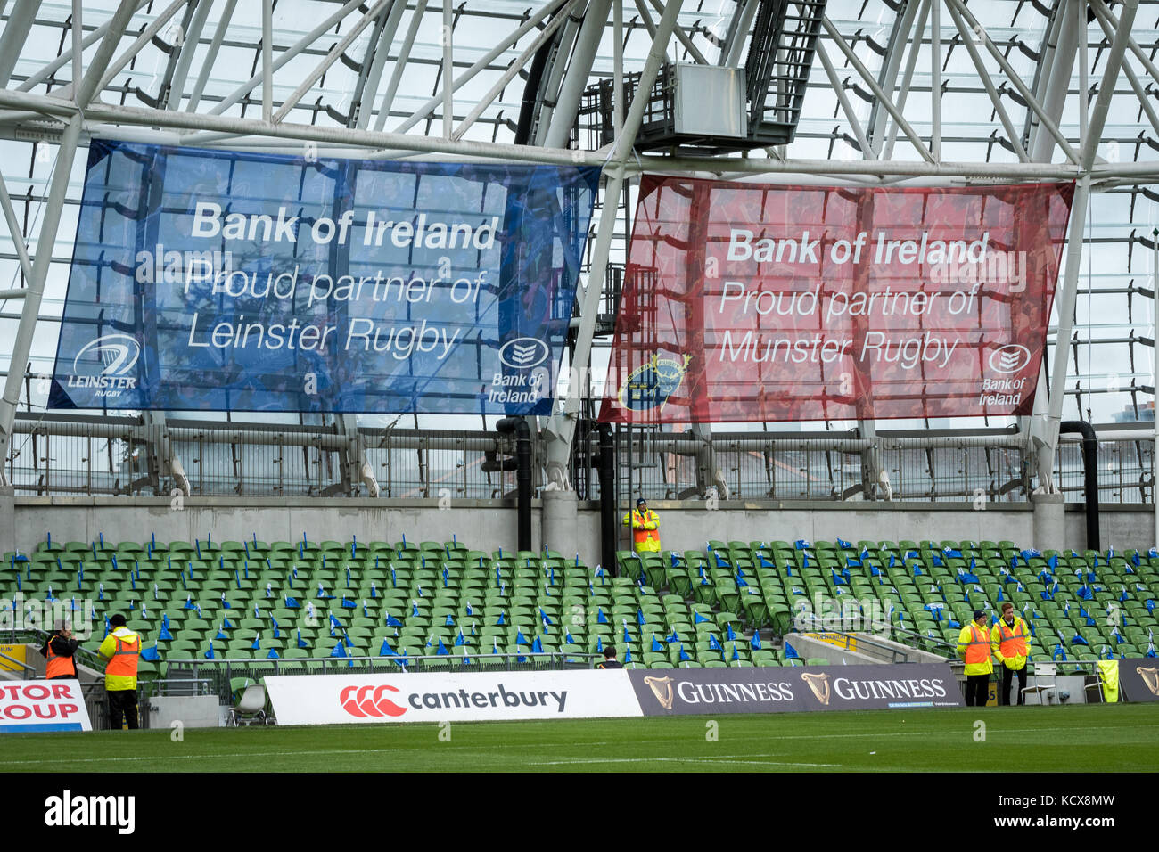 Bank of Ireland sponsorship of Munster and Leinster rugby on show at the Aviva Stadium, Dublin, Ireland - Stock Image