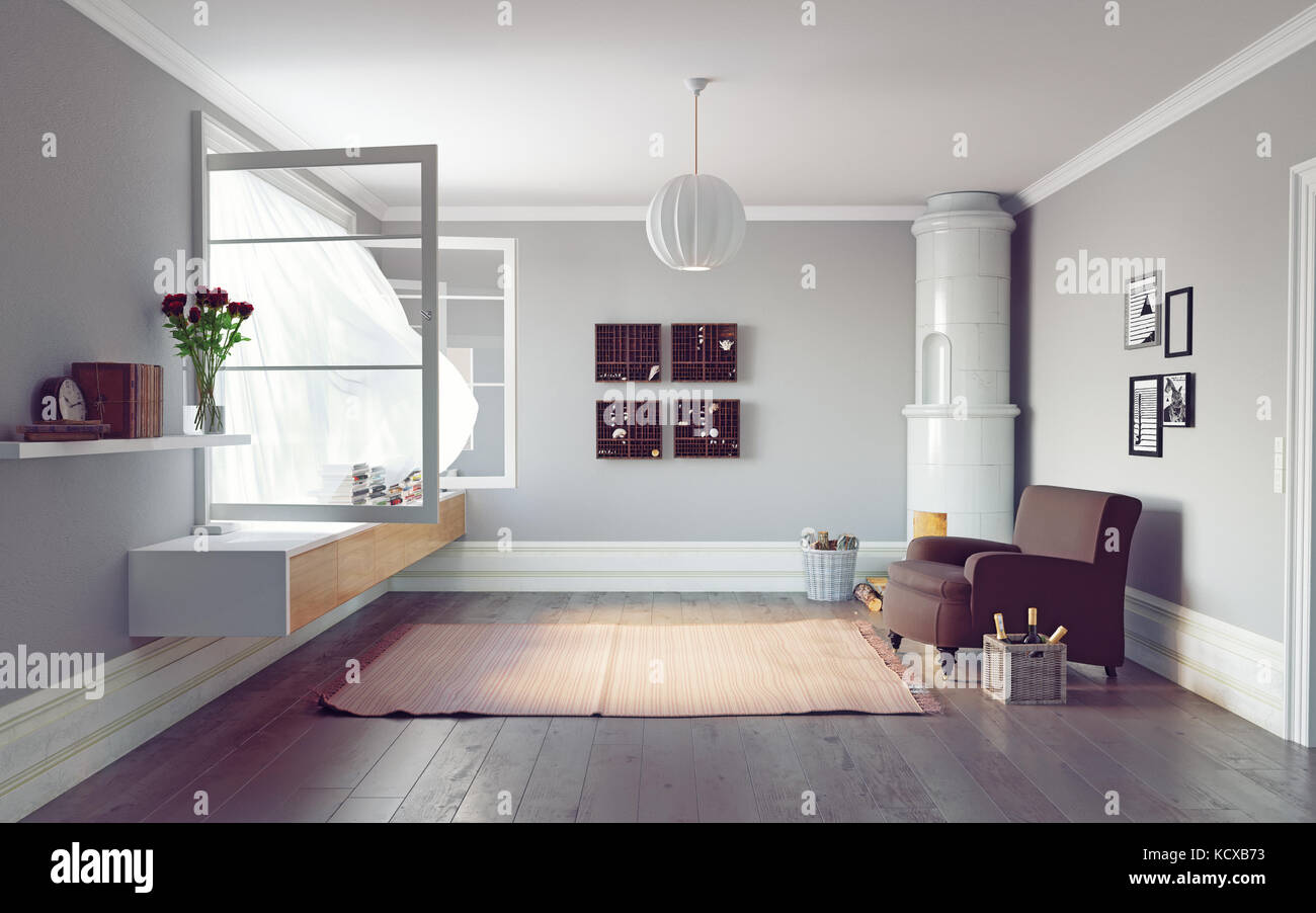 Modern living room interior. Beautiful window view zone.3d rendering ...