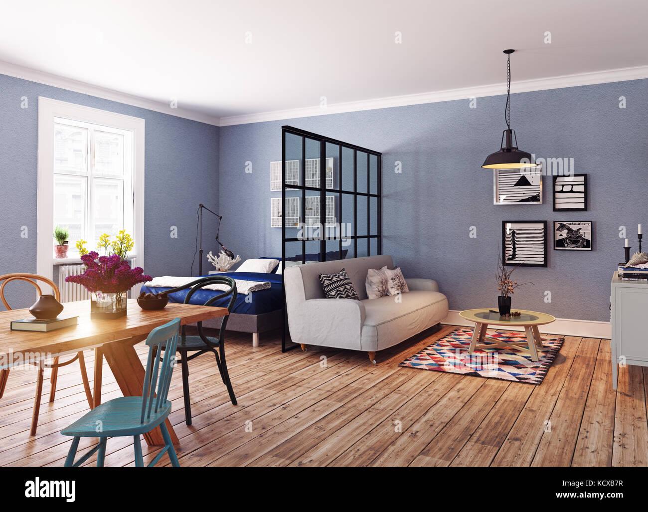 Modern apartment. Scandinavian design style. 3d rendering illustration concept - Stock Image