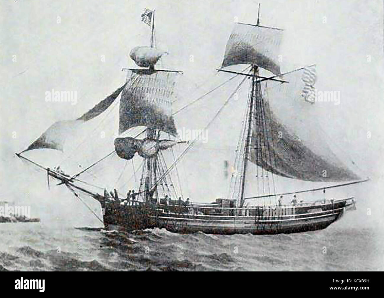 1806 The 139 ton US Brigantine ALERT, built at Amesbury - Its first Master was Captain  S Herrick. - Stock Image
