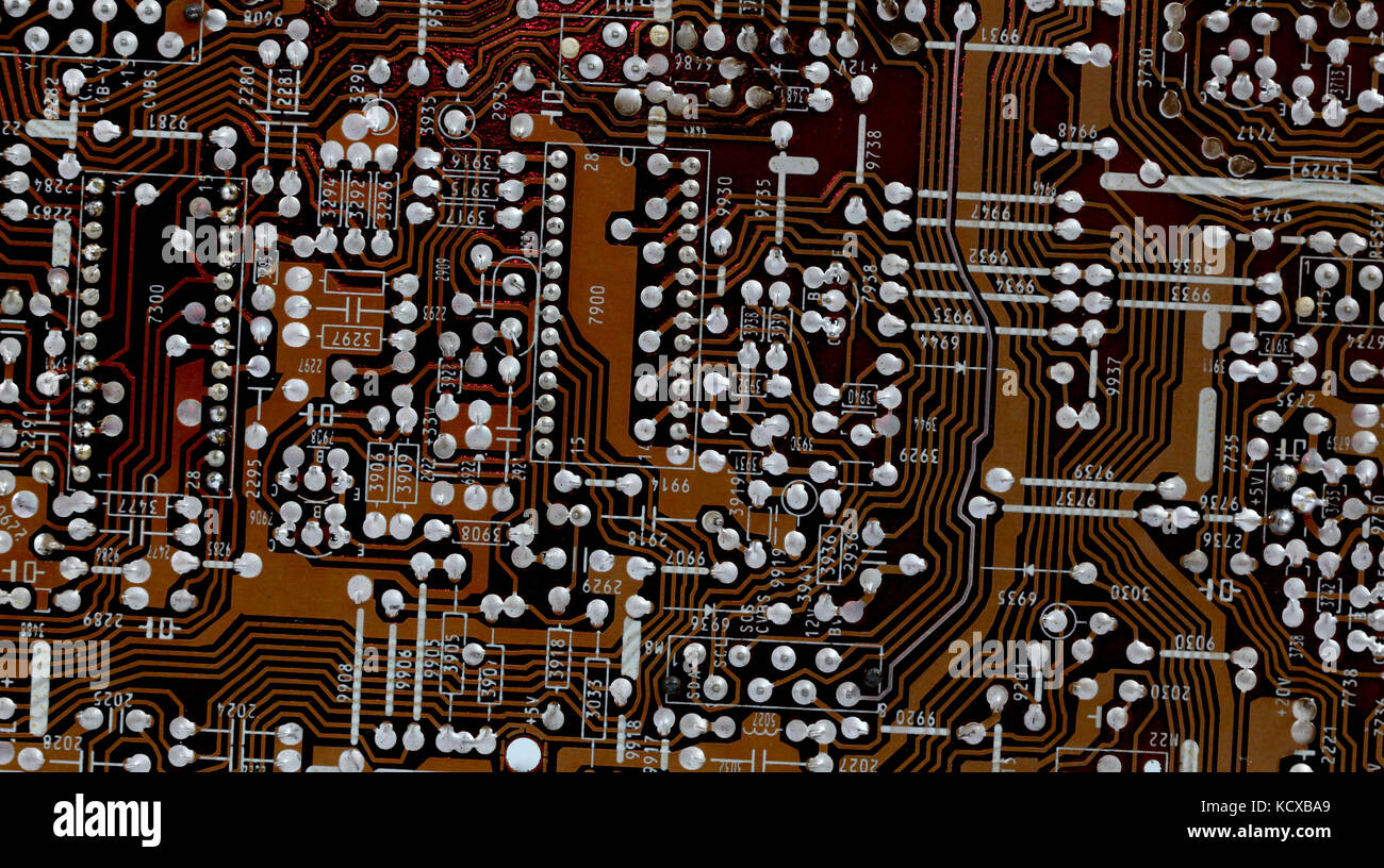 Radio Circuit Stock Photos Images Alamy Integrated Circuitvintage Part Of Old Vintage Printed Board With Electronic Components Image