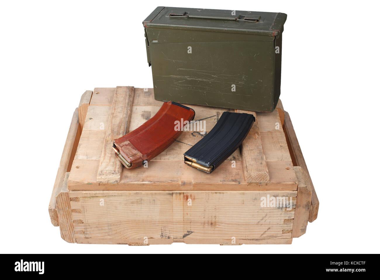 m16 and ak47 magazins on wooden box Stock Photo: 162850031