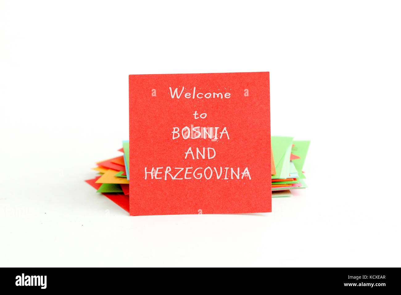 picture of a red note paper with text welcome to bosnia herzegovina - Stock Image