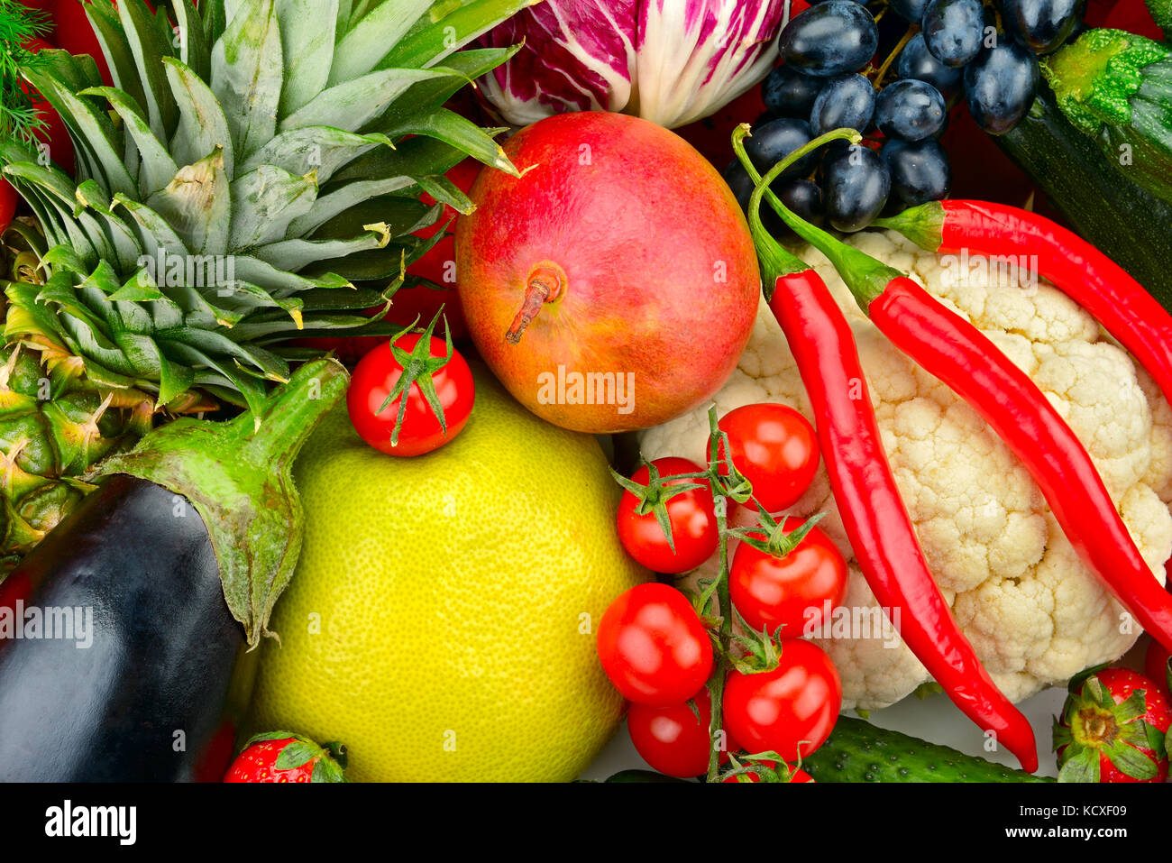 assortment fresh fruits and vegetables isolated on white - Stock Image