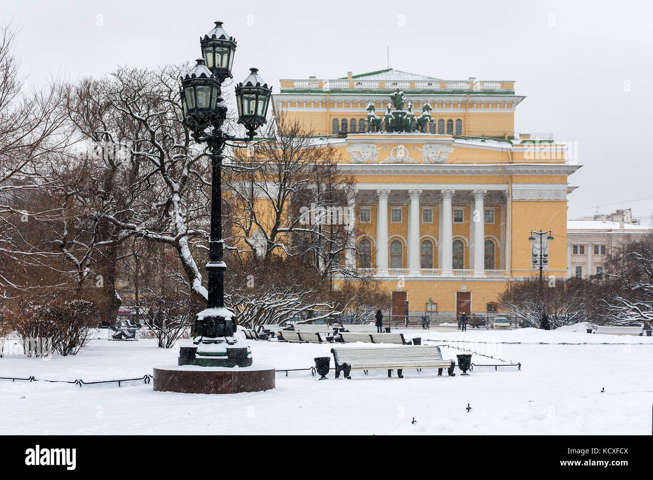 Historical landmark and touristic spot in Saint Petersburg, Russia: historical Alexandrinsky theater and square Stock Photo
