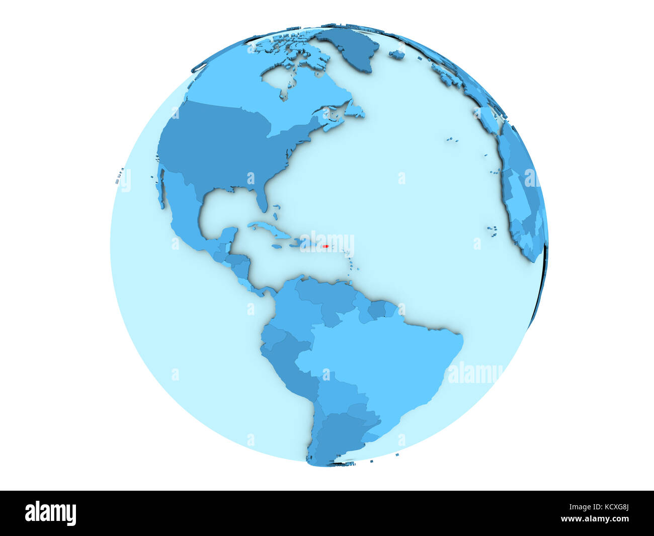 Puerto Rico Highlighted In Red On Blue Political Globe 3d Stock