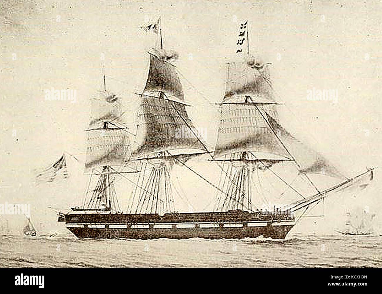 The  306 ton U.S. ship DROMO built Plymouth (USA) 1828. Still afloat 1836 - Stock Image