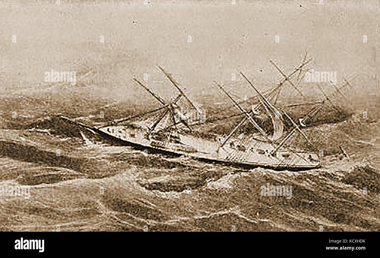 The US clipper Comet in difficulties during a  hurricane off Bermuda in October 1852 - Stock Image