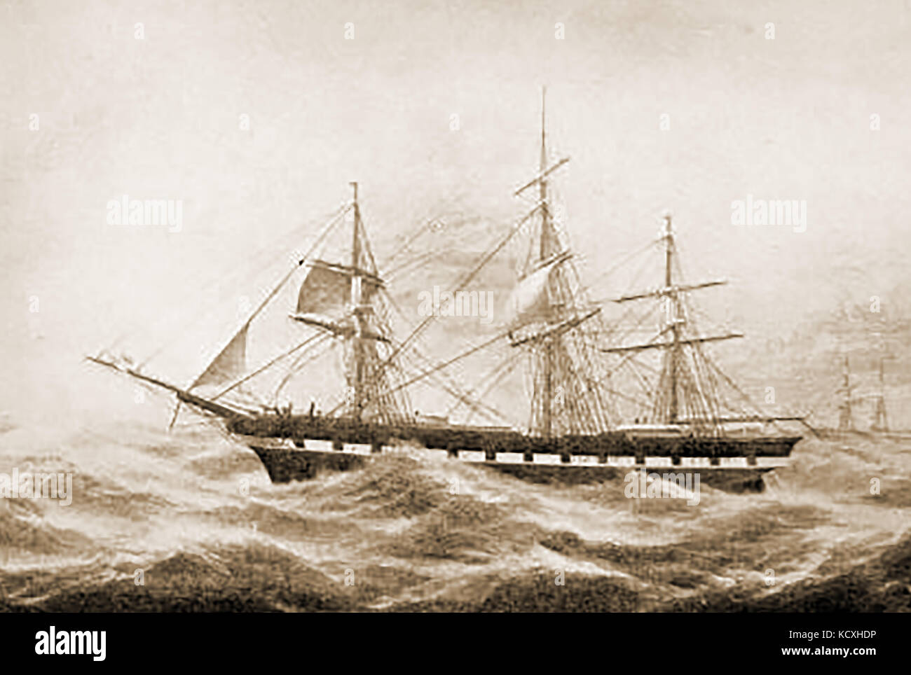 The US ship CASTILLIAN built at Newbury Port USA in 1849 by John Currier Stock Photo