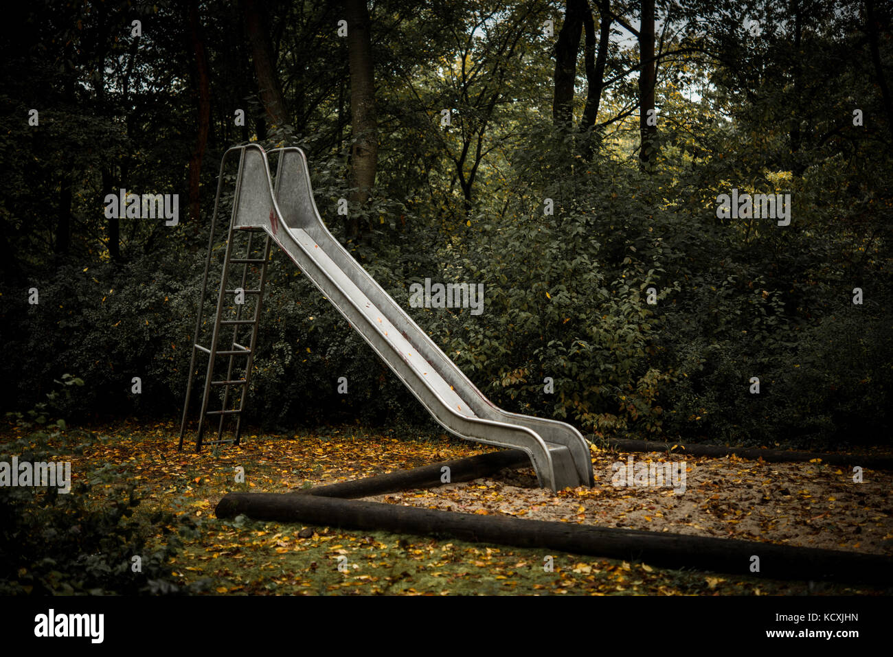 Old Abandoned Playground With Slide In Autumn Stock Photo Alamy
