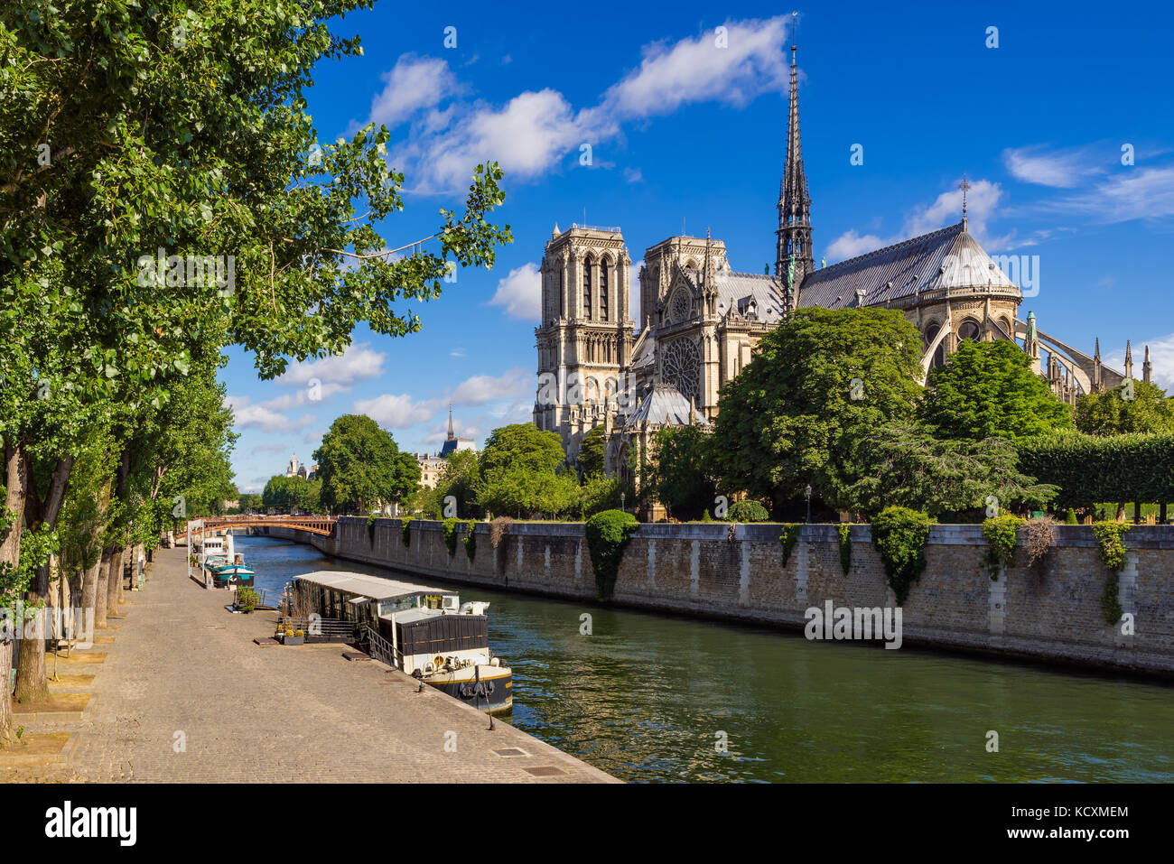 Notre Dame de Paris cathedral with the Seine River in Summer. Paris, France - Stock Image