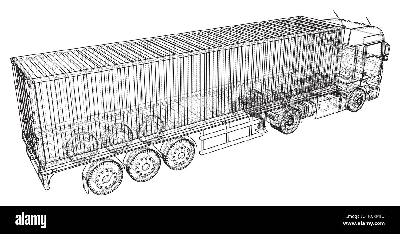 Top View Tractor Trailer Illustration Stock Photos Car Wiring Image Search Results Cargo Truck Abstract Drawing Wire Frame Eps10 Format Vector Created