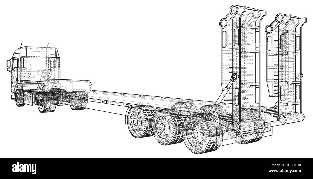 Flat Bed Trailer Stock Vector Images Alamy Transport And Travel On Harbor Freight Wiring Diagram Low Truck Wire Frame Eps10 Format Created Of 3d