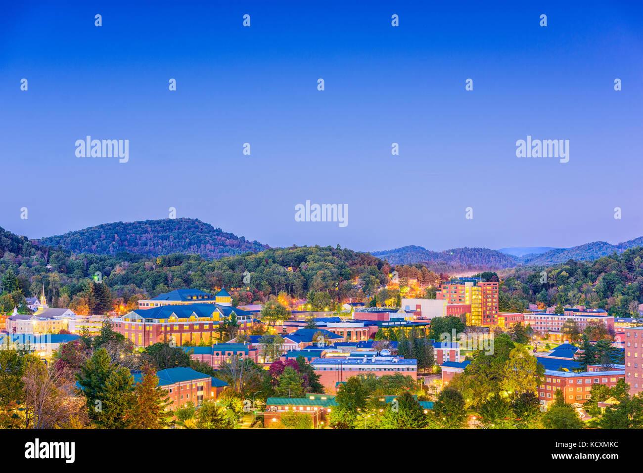 Boone, North Carolina, USA campus and town skyline. Stock Photo