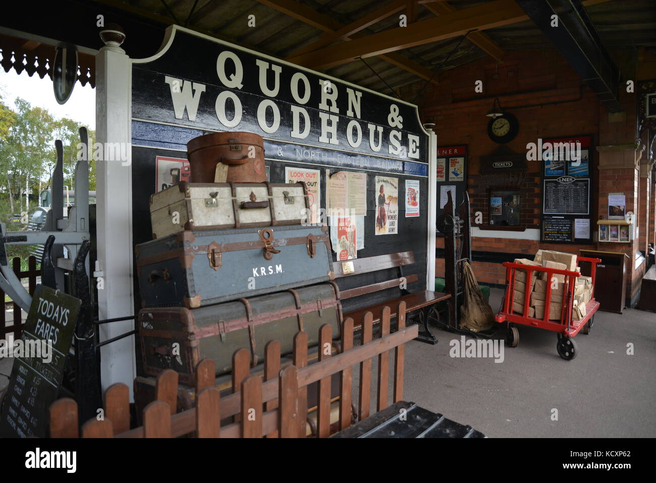 Quorn & Woodhouse Platform Signs at Great Central Railway Steam Gala 2017 Quorn Station, Loughborough Stock Photo