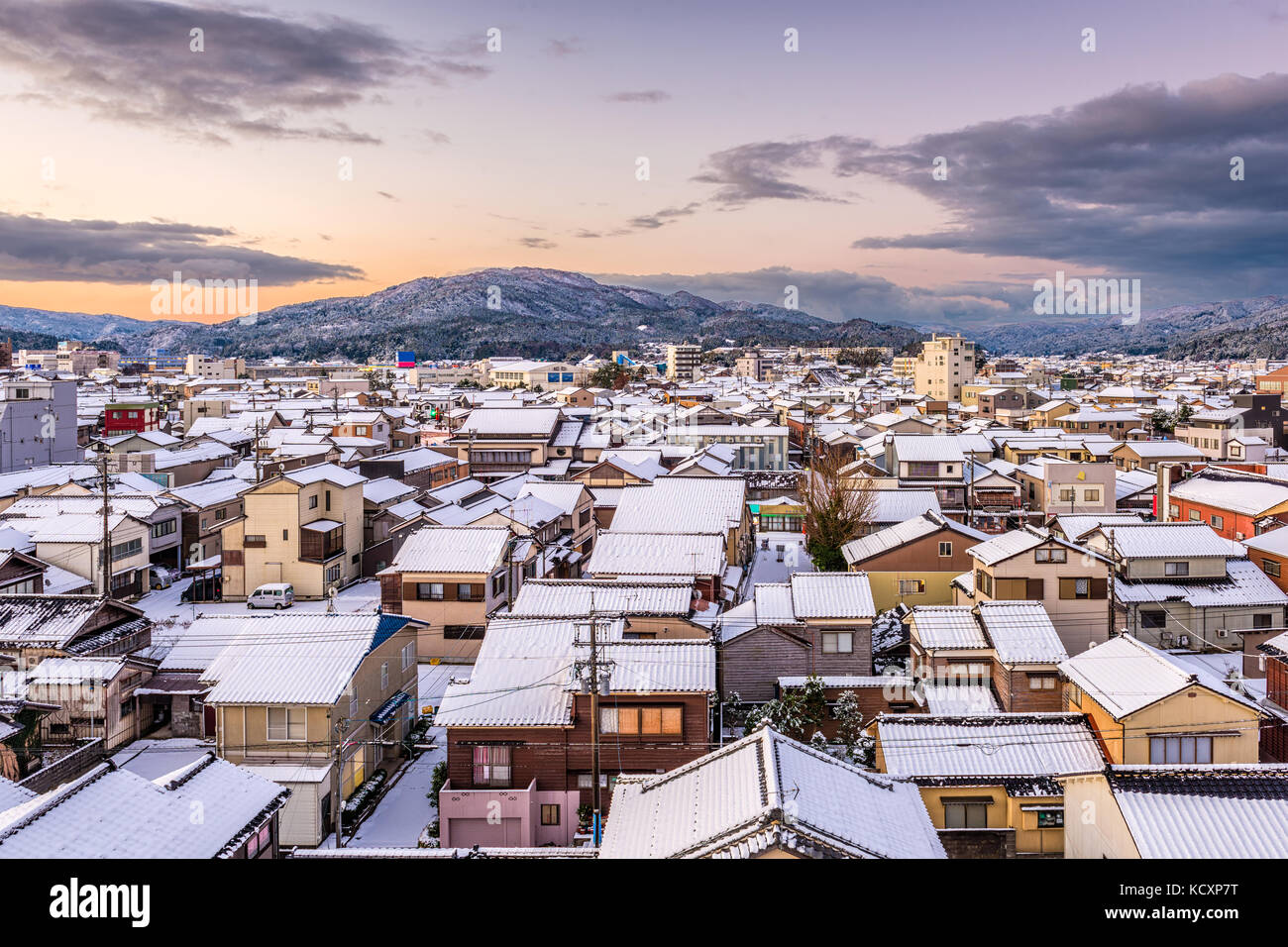 Wajima, Ishikawa, Japan town skyline in winter. - Stock Image