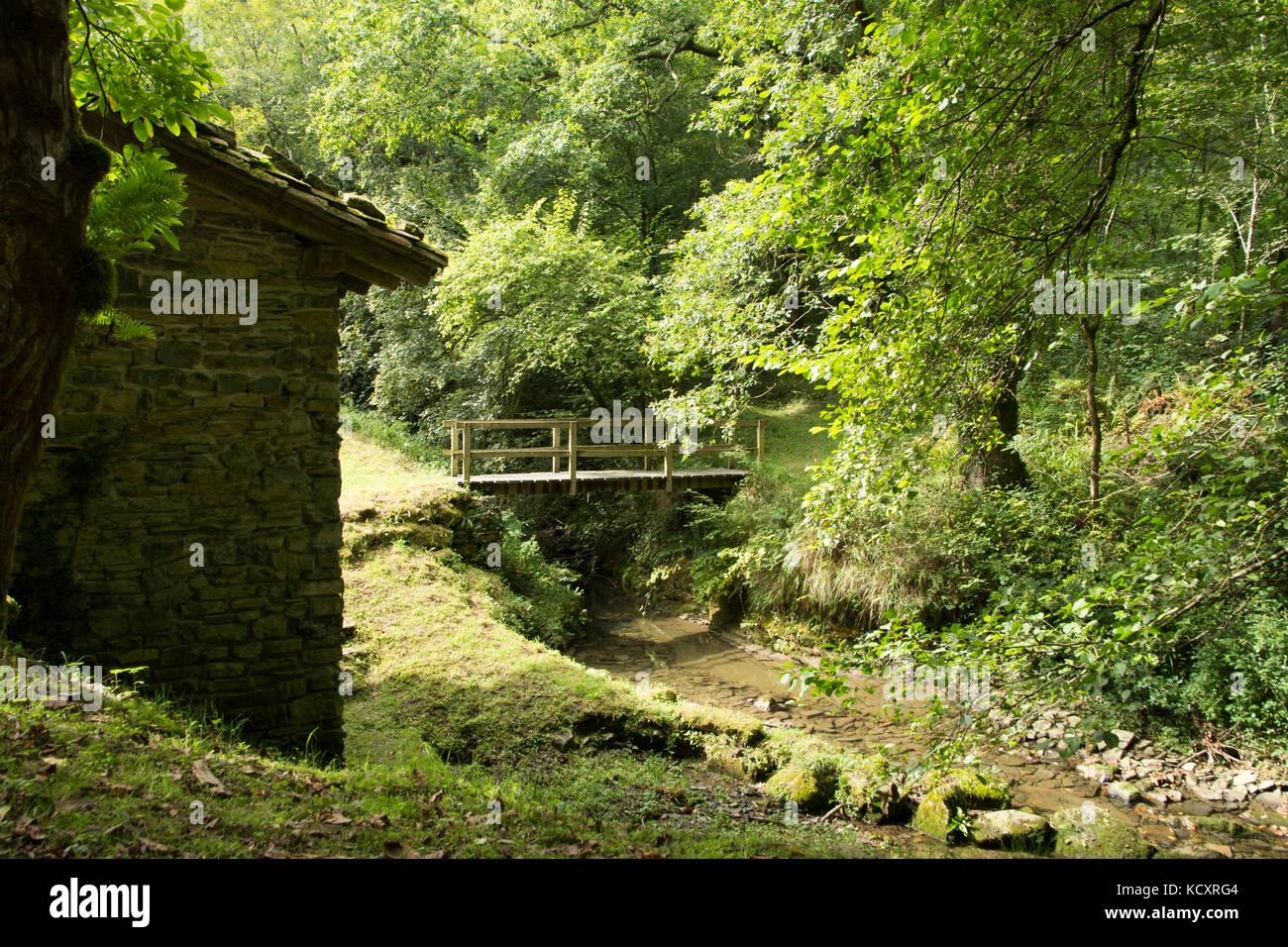 Agorregi's water mill near Pagoeta Natural Park in Guipuzkoa (Euskadi, Spain) - Stock Image