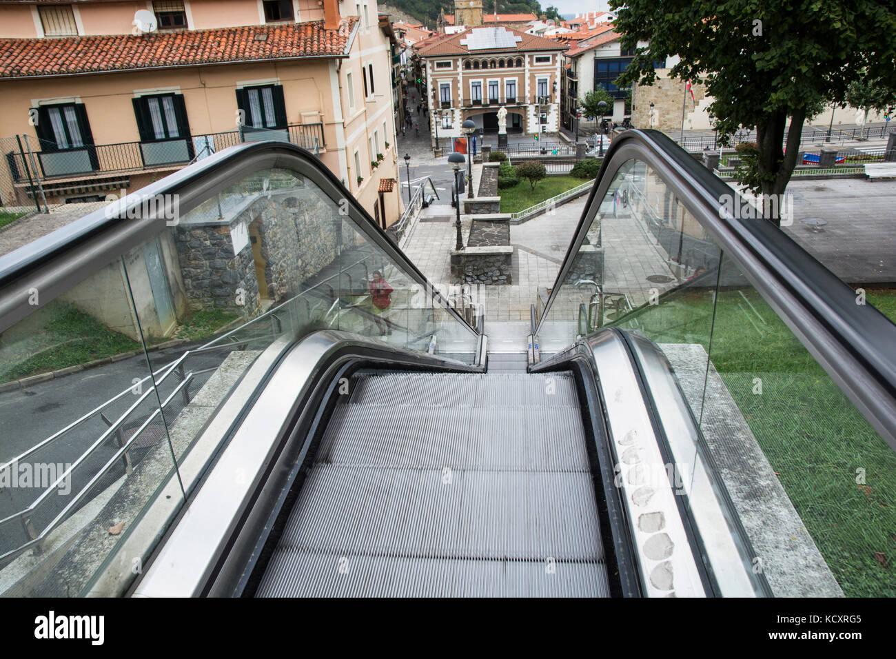 Open escalator in Getaria, Guipuzkoa (Euskadi, Vasque Country, Spain) - Stock Image