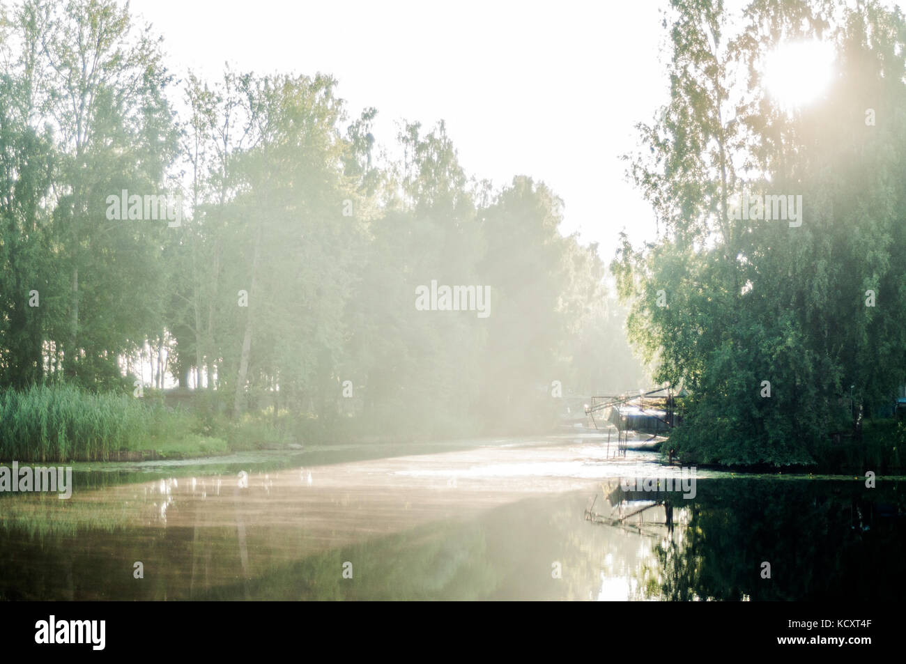 Sun rays trough birch branches. Reflections on river surface. Little  harbor. - Stock Image