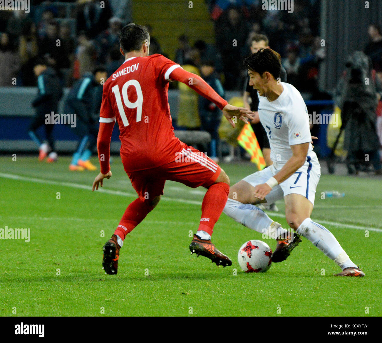 677ba126ec29 Moscow, Russia - October 7, 2017. Russian midfielder Aleksandr Samedov and  South Korean