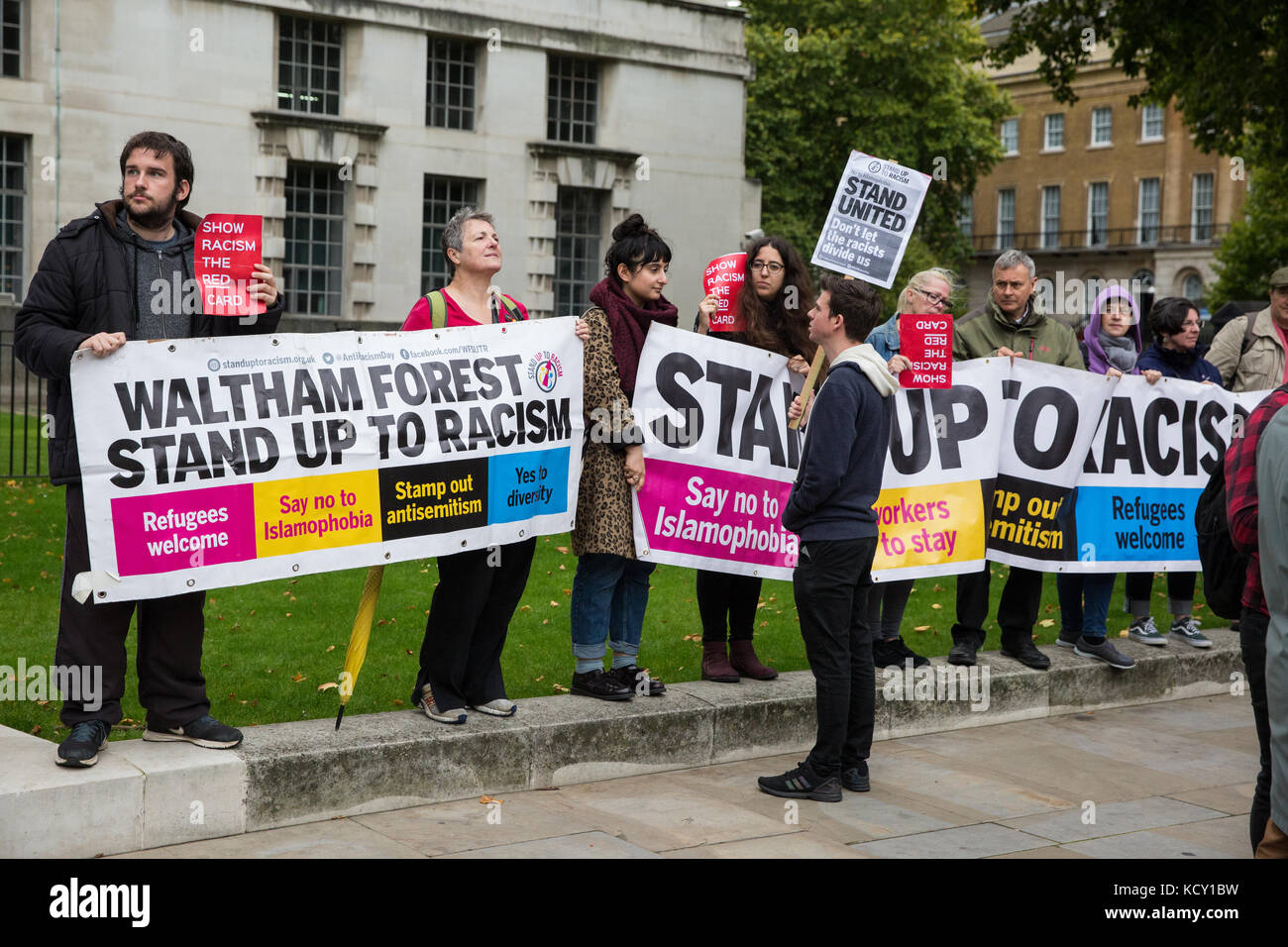 London, UK. 7th October, 2017. Supporters of Stand Up To Racism hold a 'Show Racism The Red Card' protest - Stock Image