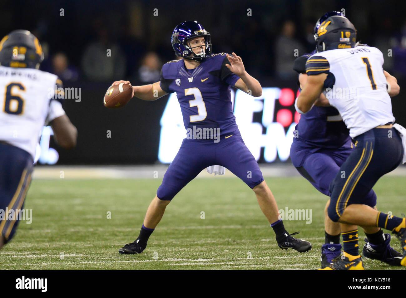 Seattle, WA, USA. 7th Oct, 2017. UW quarterback Jake Browning in ...