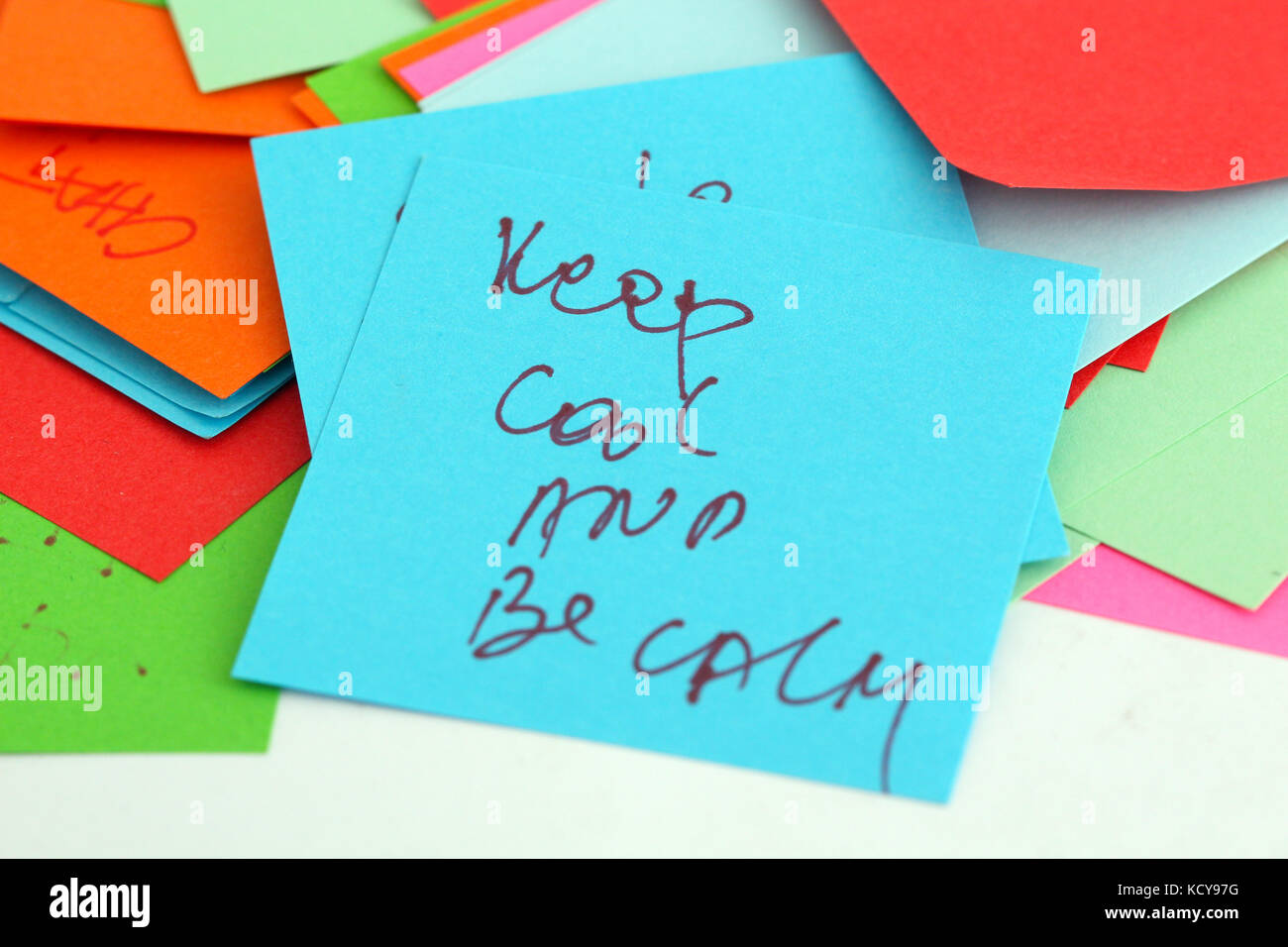 picture of a Note papers on white background,keep cool concept - Stock Image