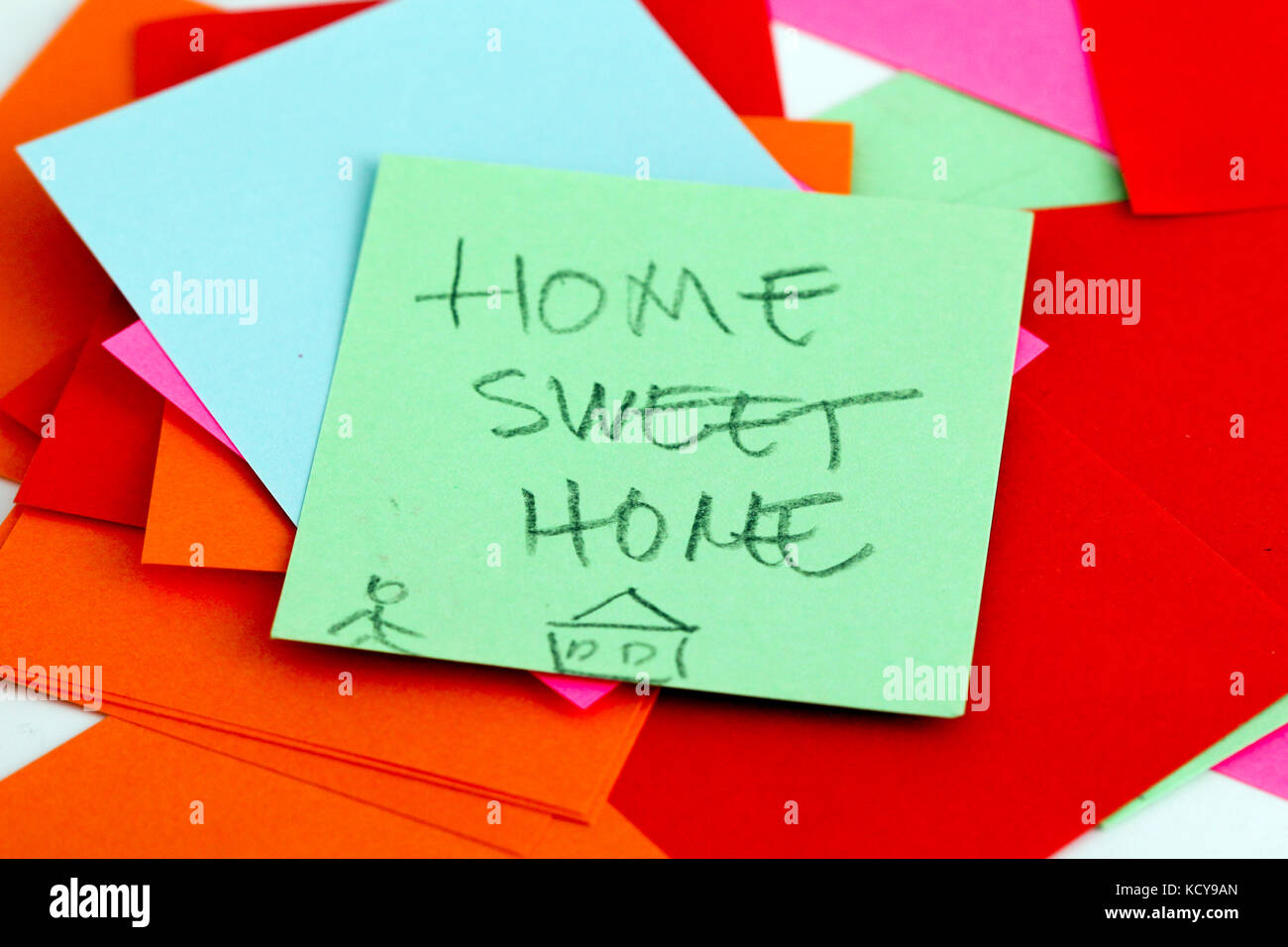picture of a Note papers on white background,home sweet home text - Stock Image