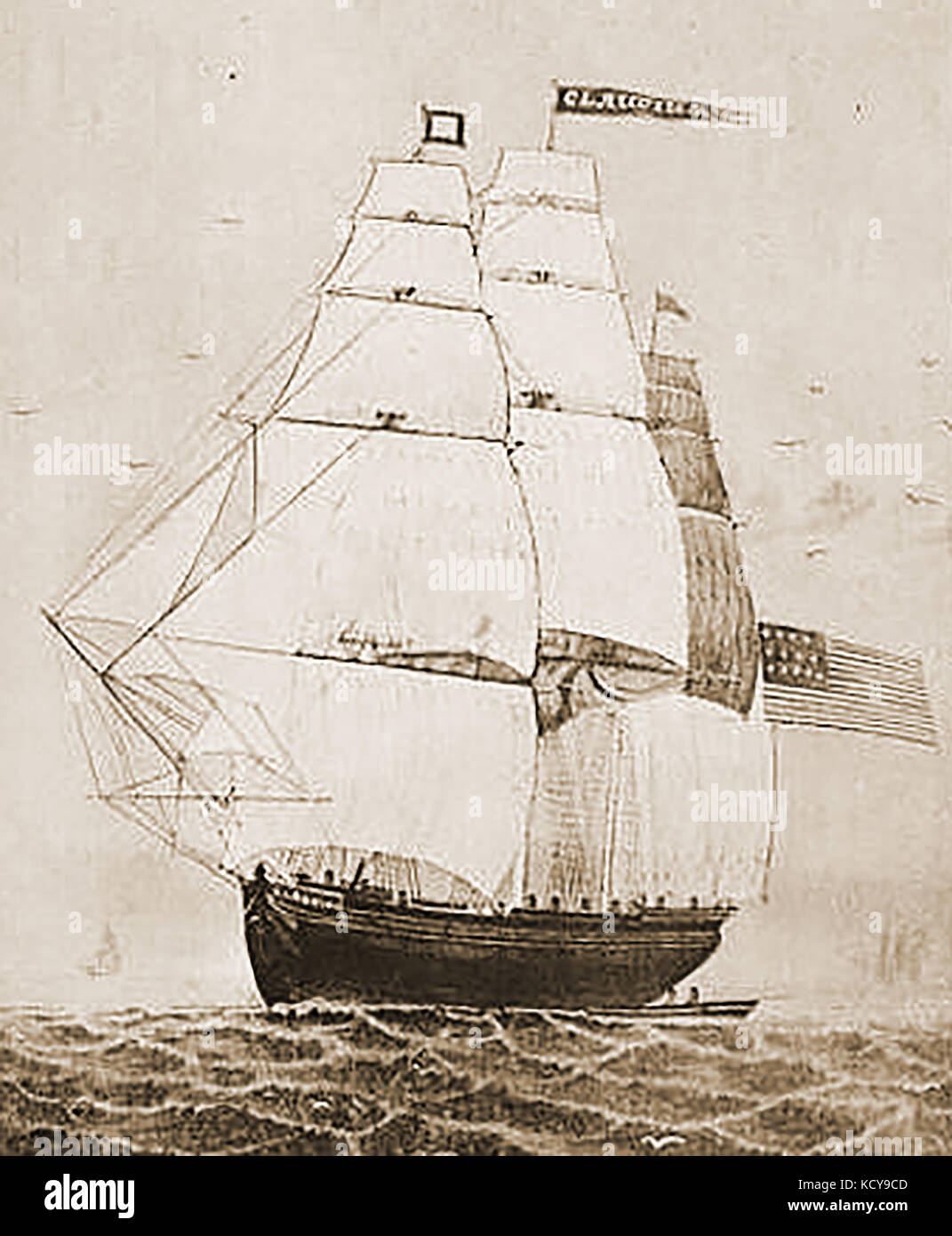 he US built ship CLAUDIUS - Constructed at Medford by P & J O Curtis in 1836 - Stock Image